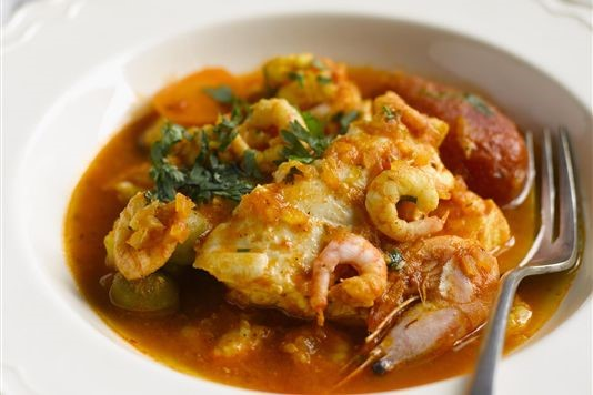 Cod and prawn tagine with olives and lemon recipe