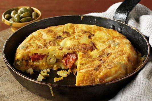 Spanish tortilla with Spanish olives and chorizo recipe