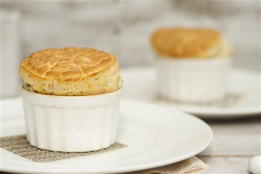 Cheddar cheese soufflé with smoked salmon recipe