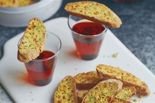 John Whaite's pistachio and rosemary biscotti recipe