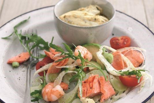 Poached salmon, prawn and avocado salad recipe