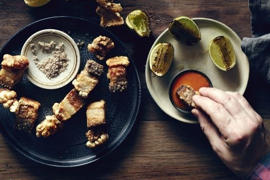 Pork belly crackling with a hot dipping sauce recipe