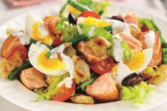 Salmon, egg, and olive salad recipe