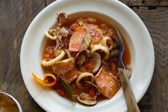 Red mullet, squid and cockle bouillabaisse recipe