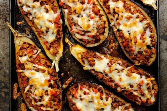Rick Stein's lamb-stuffed aubergines with Manchego cheese recipe