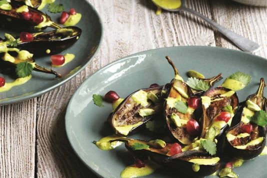 Roasted baby aubergine salad with spiced yoghurt dressing recipe