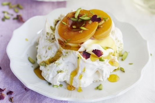 Saffron and rose poached apricot pavlova recipe