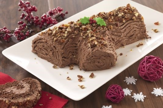 Salted pecan praline yule log recipe