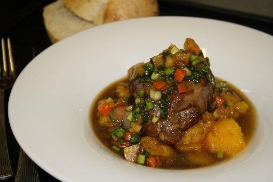 Slow-braised lamb with sweet potato mash recipe
