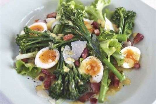 Warm Tenderstem Broccoli Quail Eggs And Bacon Salad Recipe