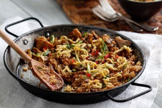 Nasi goreng with smoked mackerel recipe