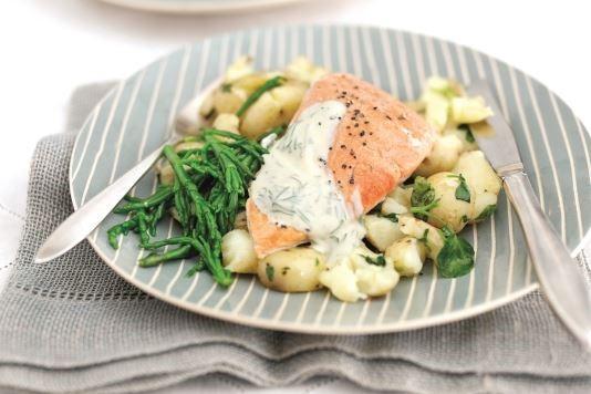 Salmon with watercress crushed potatoes and samphire recipe